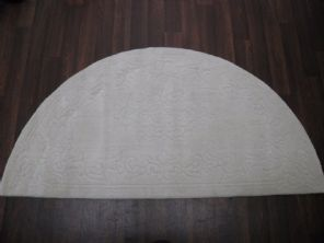 HALF MOON 100% WOOL RUGS NEW SUPER THICK PILE 67CMX137CM CREAM LOVLEY RUGS